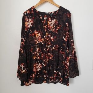 A NEW APPROACH floral leaves blouse XL